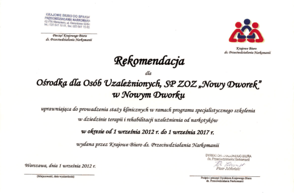 Rekomendacja Krajowego Biura ds. Przeciwdziałania Narkomanii